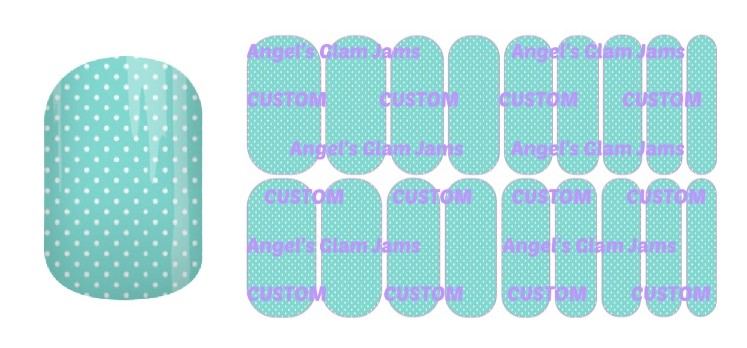 Tiffany Blue Polka Dots Jamberry Nail Wraps by Angel's Glam Jams