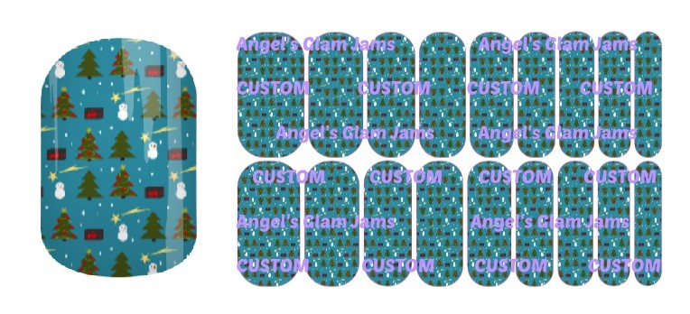 Christmas Snowman Blue Jamberry Nail Wraps by Angel's Glam Jams
