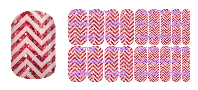 Pink Sparkle Chevron Jamberry Nail Wraps by Angel's Glam Jams