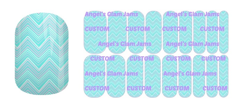 Aqua and Pink Chevron Jamberry Nail Wraps by Angel's Glam Jams