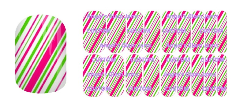 Bright Candy Cane Jamberry Nail Wraps by Angel's Glam Jams