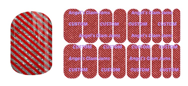 Silver Sparkle Red Christmas Stripes Jamberry Nail Wraps by Angel's Glam Jams