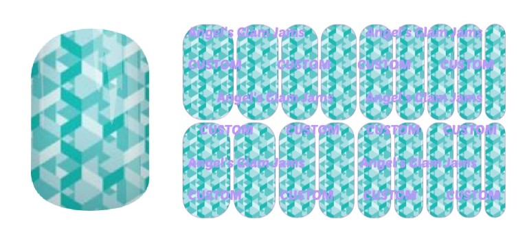 Tiffany Blue Kaleidoscope Jamberry Nail Wraps by Angel's Glam Jams