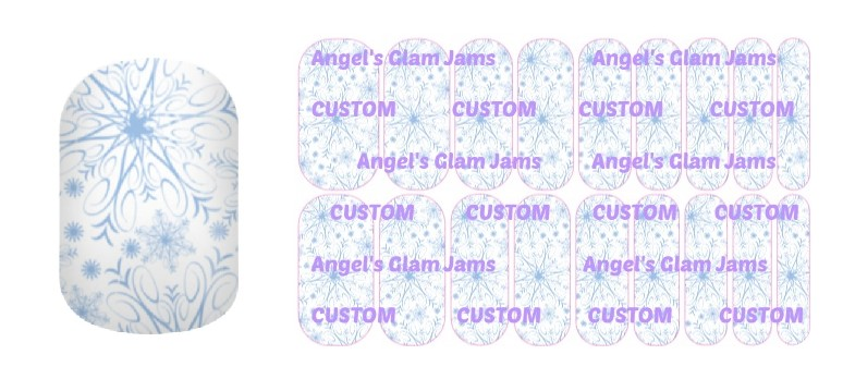 Light Blue Snowflakes Jamberry Nail Wraps by Angel's Glam Jams