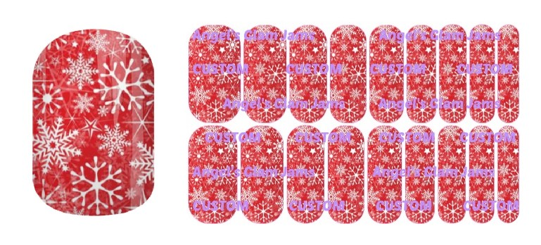 Red Christmas Snowflakes Jamberry Nail Wraps by Angel's Glam Jams