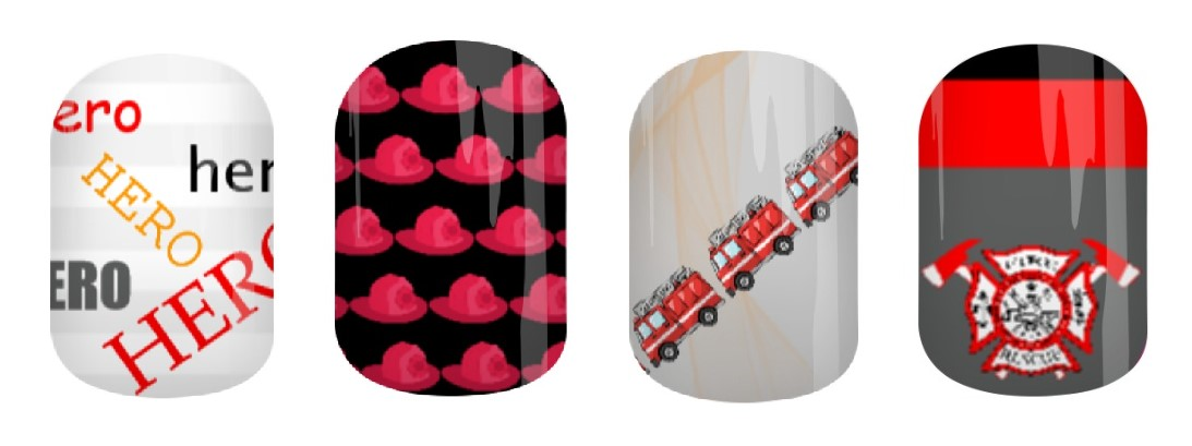 Firefighter Hero Jamberry Nail Wraps by Angel's Glam Jams