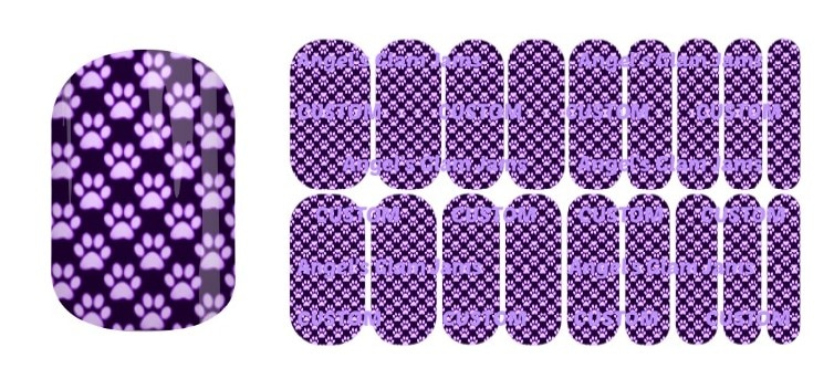 Paw Purple Jamberry Nail Wraps by Angel's Glam Jams