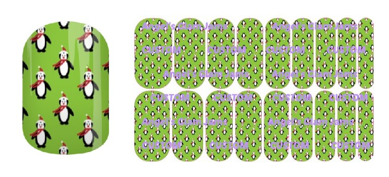 Christmas Penguin Green Jamberry Nail Wraps by Angel's Glam Jams