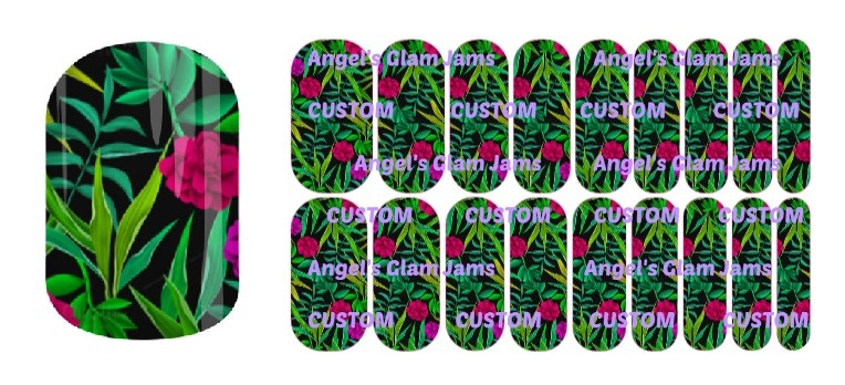 Tropical Flowers Jamberry Nail Wraps by Angel's Glam Jams