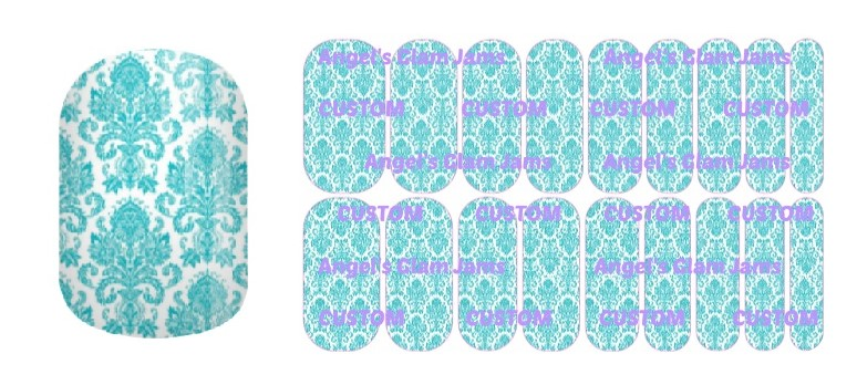 Tiffany Blue French Tapestry Jamberry Nail Wraps by Angel's Glam Jams