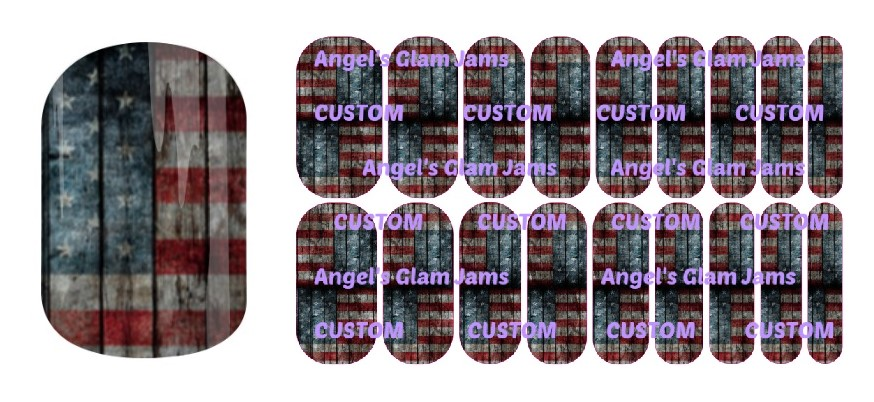 American Flag Rustic Jamberry Nail Wraps by Angel's Glam Jams