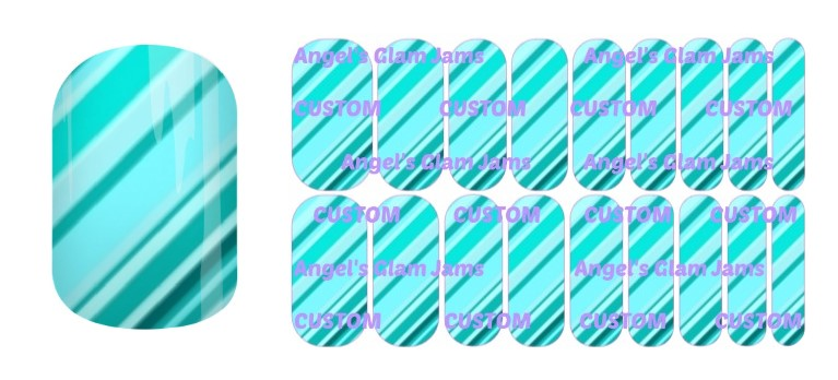Tiffany Blue Sweet Stripes Jamberry Nail Wraps by Angel's Glam Jams
