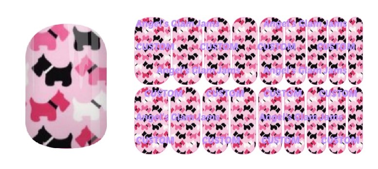 Scottie Dog Pink Jamberry Nail Wraps by Angel's Glam Jams
