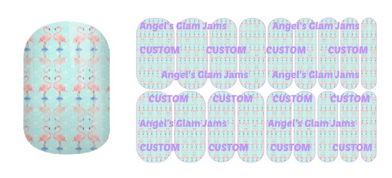 Flamingo Sweethearts Jamberry Nail Wraps by Angel's Glam Jams