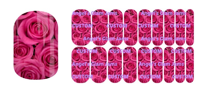 Hot Pink Roses Jamberry Nail Wraps by Angel's Glam Jams