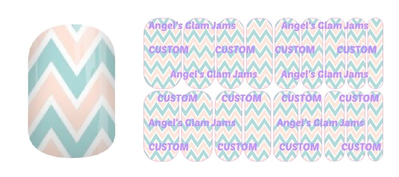 Tiffany Blue and Cream Chevron Jamberry Nail Wraps by Angel's Glam Jams