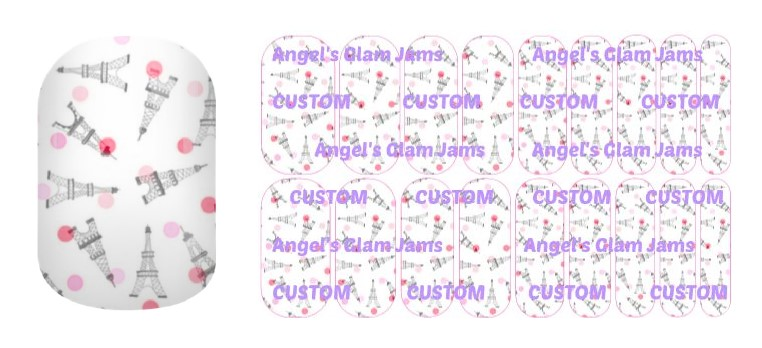 Eiffel Tower Polka Dot Jamberry Nail Wraps by Angel's Glam Jams