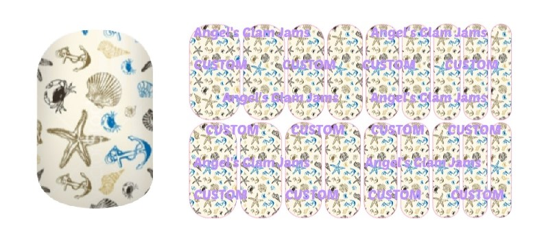Blue Beach Jamberry Nail Wraps by Angel's Glam Jams