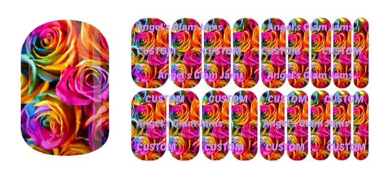 Rainbow Roses Jamberry Nail Wraps by Angel's Glam Jams