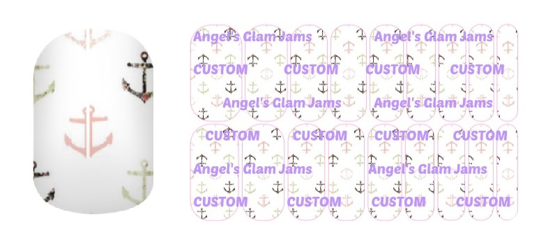 Pastel Anchors Jamberry Nail Wraps by Angel's Glam Jams