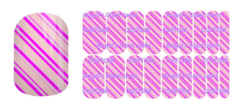 Wild Pink Stripes Jamberry Nail Wraps by Angel's Glam Jams