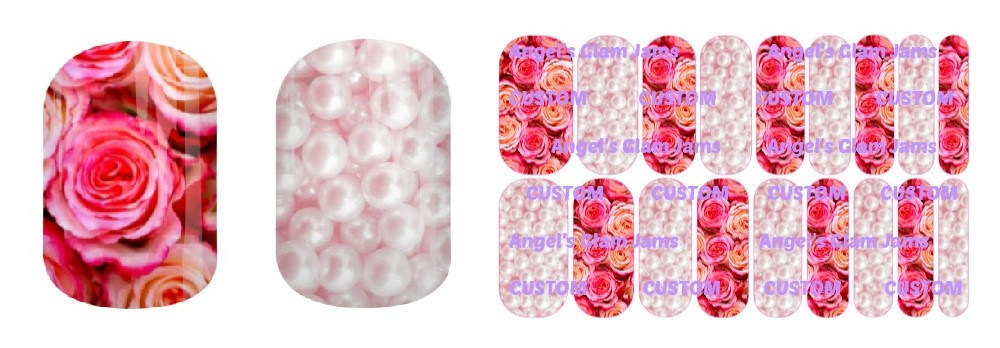 Pink Pearls and Roses Jamberry Nail Wraps by Angel's Glam Jams