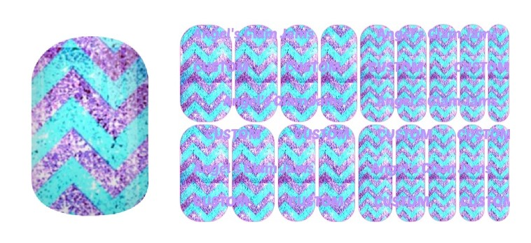 Tiffany Blue and Purple Chevron Sparkle Jamberry Nail Wraps by Angel's Glam Jams