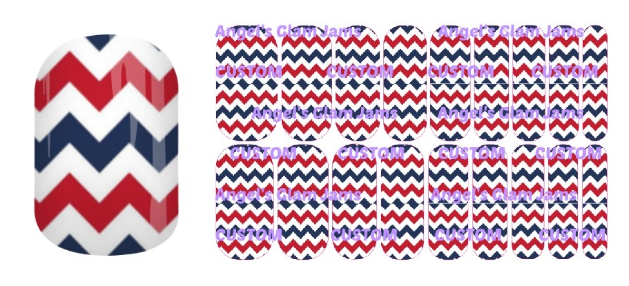 American Chevron Jamberry Nail Wraps by Angel's Glam Jams