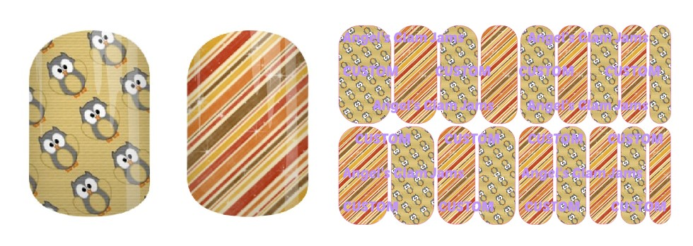Autumn Owls and Stripes Jamberry Nail Wraps by Angel's Glam Jams