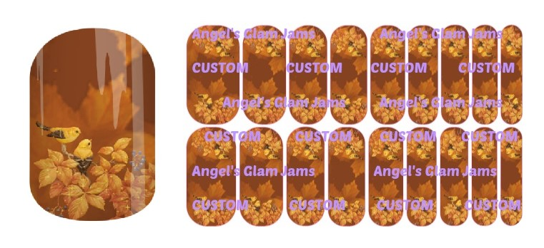 Autumn Songbird Jamberry Nail Wraps by Angel's Glam Jams