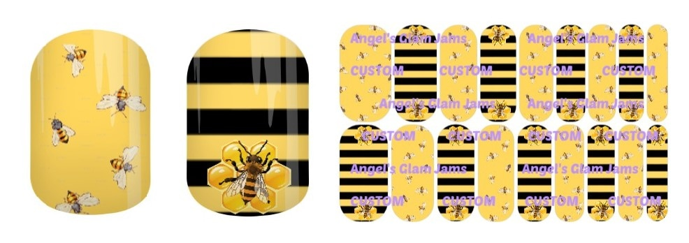 Bee Charmer Jamberry Nail Wraps by Angel's Glam Jams