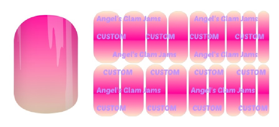 Hot Pink Cream Ombre Jamberry Nail Wraps by Angel's Glam Jams