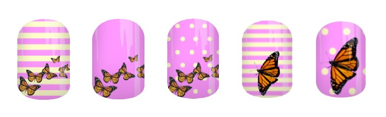 Monarch Flight Lavender Jamberry Nail Wraps by Angel's Glam Jams