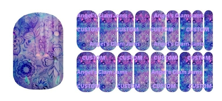 Moonlit Floral Jamberry Nail Wraps by Angel's Glam Jams