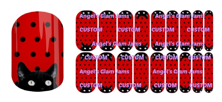 Peek-A-Boo Kitty Red Jamberry Nail Wraps by Angel's Glam Jams