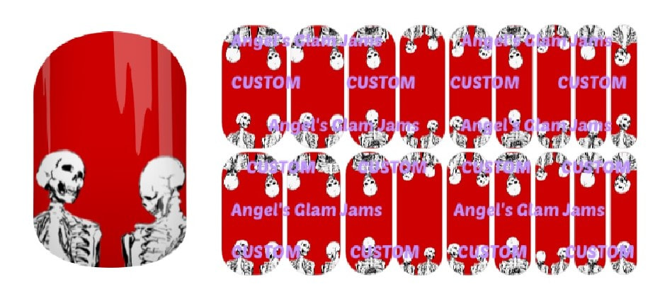 Skeleton Crew Blood Red Jamberry Nail Wraps by Angel's Glam Jams