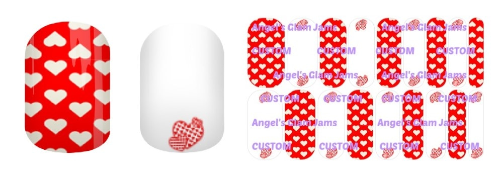 Valentine Darling Hearts Jamberry Nail Wraps by Angel's Glam Jams